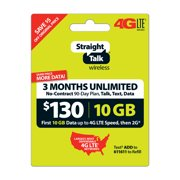 Straight Talk $130 Unlimited 3-Month/90-Day Plan (with up to 10GB of data at high speeds, then 2G*) (Email Delivery)