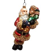7b59cc6077930 Santa Carrying a Child Polish Glass Christmas Ornament Tree Decoration