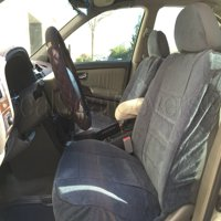 A35 DELUXE Thick Heavy Protective Fabric w/ Smooth Textured 8mm Thick Padded Triple Stitched Seat Cover Front Pair 4pc Set for TOYOTA TUNDRA Charcoal, Dark Gray