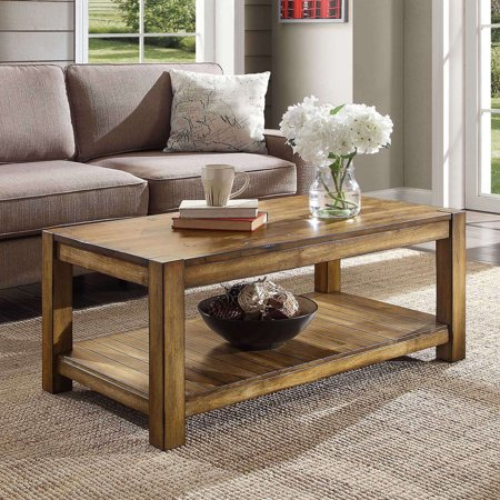 Better Homes & Gardens Bryant Solid Wood Coffee Table, Rustic Maple Brown Finish Contemporary Wood Finish Coffee Table