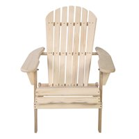 Gymax Foldable Fir Wood Adirondack Chair Patio Deck Garden Outdoor