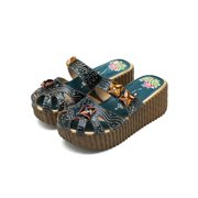 2e35f801a234 Meigar Women Handmade Backless Slippers High Wedge Platform Sandal Leather  Shoes