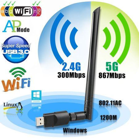 Wireles USB wifi Adapter, EEEKit 1200Mbps 2.4GHz/5GHz Dual Band WIFI Adapter 802.11AC Wireles USB 3.0 Network w/ Antenna for Computer PC Win XP/7/8/10,MAC,Linux
