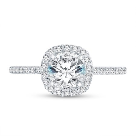 Solid 14k White Gold Round Cut Floating Halo Solitaire Engagement Ring CZ Cubic Zirconia (1.50cttw., 1.0ct. Center) , Size 7