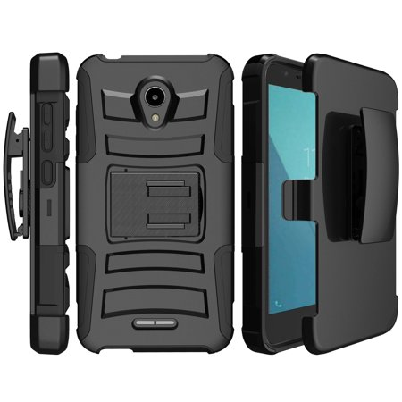 Clip Armor High Impact Phone Case for Alcatel Verso Case [ Holster Hard Shell Case for Alcatel IdealXcite]Alcatel IdealXcite Rugged Impact Case with Low Profile Kickstand - - High Impact Holster