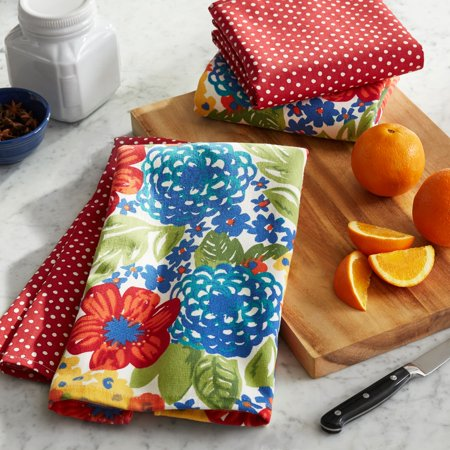 The Pioneer Woman Dazzling Dahlias Kitchen Towels, Set of 4](Halloween Tea Towels)