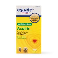 (4 Pack) Equate Low Dose Aspirin Enteric Coated Tablets, 81 mg, 120 Ct