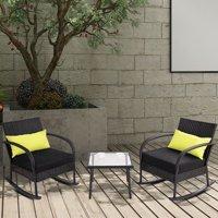 Gymax 3PC Rocking Chair Bistro Set Rattan Wicker Outdoor Patio FurnitureSet W/Cushion
