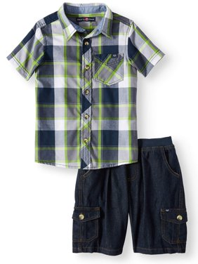 Short Sleeve Plaid Button Up Top with Twill Short, 2-Piece Set (Little Boys)