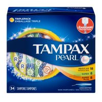 Tampax Pearl Triple Pack (Regular/Super/Super Plus) Plastic Tampons, Unscented, (Choose your Count)