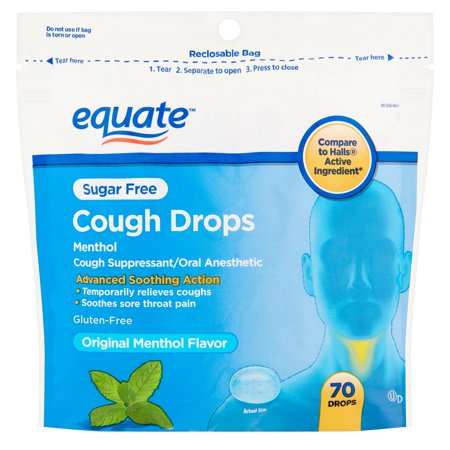 (4 Pack) Equate Sugar Free Cough Drops, Menthol, 70 (Coughing Up Clear Phlegm All The Time)
