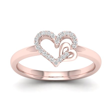 1/10Ct TDW Diamond 10k Rose Gold Open Heart Dous Fashion Ring