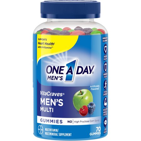 All One Vitamins - One A Day Menâs VitaCraves Multivitamin Gummies, Supplement with Vitamins A, C, E, B6, B12, and Vitamin D, 70 ct.
