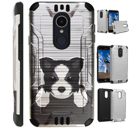 For LG Rebel 3 | LG Rebel 4 Case Brushed Metal Texture Hybrid TPU Silver Guard Phone Cover (Cute Dog Border Collie)