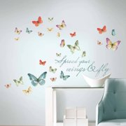 162f217c3 Roommates Lisa Audit Butterfly Quote Peel and Stick Wall Decals