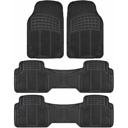 - BDK Car SUV and Van Floor Rubber Mats 3 Row, Heavy Duty All Weather Protection, 3 Colors
