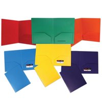 JAM Paper Heavy Duty Plastic 2 Pocket School Folders, Assorted Primary Colors, 6/pack