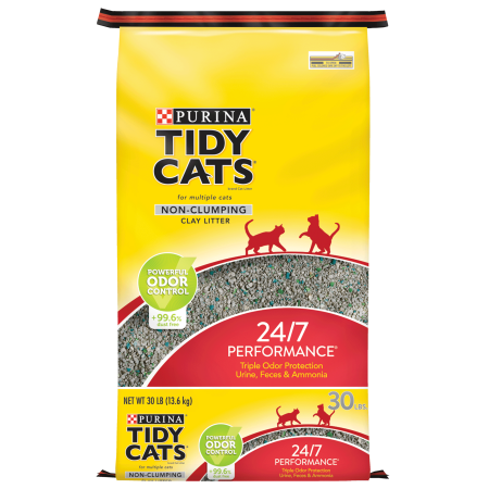 Litter Box Freshener - Purina Tidy Cats Non Clumping Cat Litter, 24/7 Performance Multi Cat Litter - 30 lb. Bag