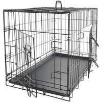 """OxGord 30"""" Heavy Duty Foldable Double Door Dog Crate with Divider and Removable ABS Plastic Tray, 30"""" x 18"""" x 20"""""""