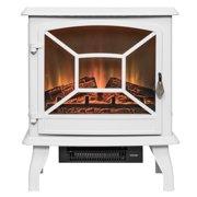 "AKDY FP0083 20"" White Freestanding Portable Electric Fireplace Firebox Heater Flames w/ Logs"