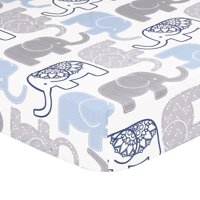 The Peanut Shell Baby Boy Fitted Crib Sheet - Little Peanut Navy Blue and Grey Elephants - 100% Cotton Sateen, Fits Standard 52 by 28 Inch Mattress