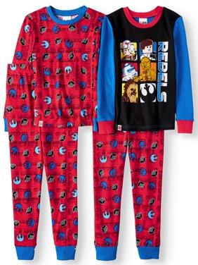 Lego Star Wars Glow in the Dark Fitted Rebel 4 Piece Pajama Sleep Set (Big Boy & Little Boy)