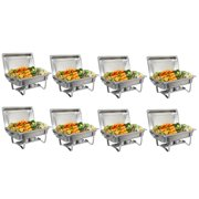 Zeny (Pack of 8) 8 Quart Full Size Chafing Dishes Buffet, Food Grade Stainless Steel, Catering Chafer Warmer Sets for for Weddings Parties Banquets Catering Events