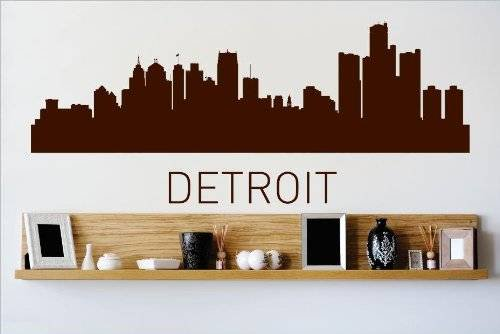 Custom Wall Decal Vinyl Sticker : Detroit Michigan MI Skyline City View Beautiful Scene Landmarks Buildings Water Bedroom Bathroom - Detroit Tigers Family Decal