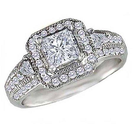 Dazzlingrock Collection 0.75 Carat (Ctw) 14k Round & Trilliant Cut Diamond Ladies Semi Mount Engagement Ring (No Center Stone), White Gold, Size 6.5