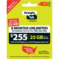 Straight Talk $255 Unlimited 6-Month/180-Day Plan (with up to 25GB of data at high speeds, then 2G*) (Email Delivery)