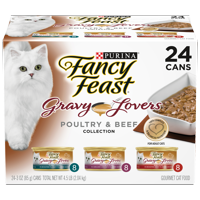 Fancy Feast Gravy Wet Cat Food Variety Pack; Gravy Lovers Poultry & Beef Feast Collection - (24) 3 oz. Cans