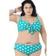 22c3050c34a47 Plus Size Vintage Polka Dot Push Up Bikini Swimwear Swimsuit Set