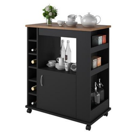 Pine Kitchen Furniture (Ameriwood Home Williams Kitchen Cart, Black/Old Fashioned Pine )