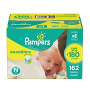 Pampers' Swaddlers Diapers Size Newborn - 162 ct. ( Weight Less than 10 lb.) - Bulk Qty, Free Shipping - Comfortable, Soft, No leaking & Good nite Diapers