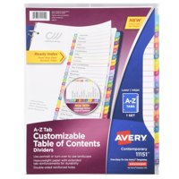 Avery(R) Ready Index(R) Table of Contents Dividers 11151, 26-Tab Set, A-Z
