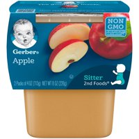 (8 Pack) Gerber 2nd Foods Apples Baby Food, 4 oz. Tubs, 2 Count