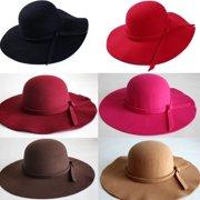 Vintage Women Wide Brim Floppy Warm Fashion Felt Hat Trilby Bowler Cool cffc804d0344
