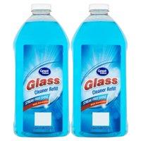 (2 Pack) Great Value Glass Cleaner Refill, Streak-Free Shine, 67.6 fl oz