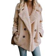 a6a5673637 Womens Button Fluffy Jacket Cardigans Ladies Warm Jumper Fleece Faux Fur  Coat Hoodie Outwear