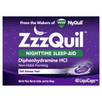 Vicks ZzzQuil Nighttime Sleep Aid, Non-Habit Forming, Fall Asleep Fast and Wake Refreshed, 48 Count LiquiCaps
