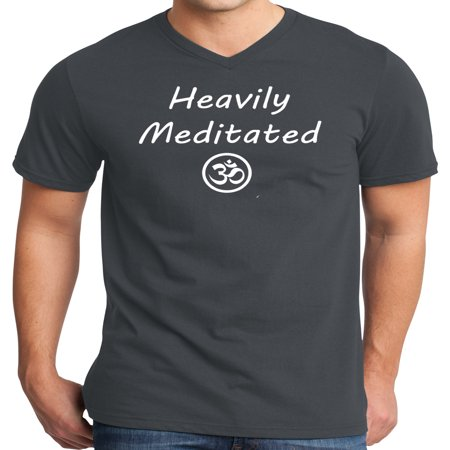 Mens Heavily Meditated with Om Yoga V-neck Shirt - Charcoal, Extra Small