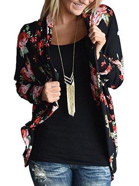 DYMADE Womens Boho Irregular Long Sleeve Wrap Kimono Cardigans Casual Coverup Coat Tops Outwear