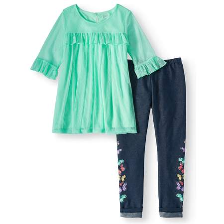 Ruffled Mesh Overlay Tunic and Legging, 2-Piece Outfit Set (Little Girls, Big Girls & Big Girls Plus)