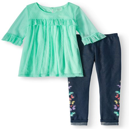 Ruffled Mesh Overlay Tunic and Legging, 2-Piece Outfit Set (Little Girls, Big Girls & Big Girls Plus) - Striper Outfits