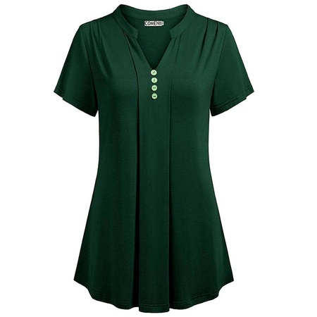 Silk Blend Camp Shirt - Women Summer Casual Solid Short Sleeve Tops Sexy Deep V-neck Button Chemise Loose Blouse Cotton Silk T-shirt Plus Size