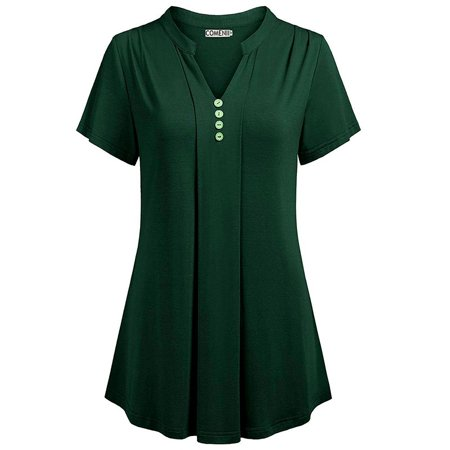 Women Summer Casual Solid Short Sleeve Tops Sexy Deep V-neck Button Chemise Loose Blouse Cotton Silk T-shirt Plus Size - Green Gardens Wrap Top
