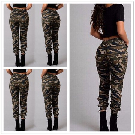 Plus Size Women Camouflage Army Skinny Fit Cargo Pants Stretchy Denim Pantalon Femme High Waist Trousers Women