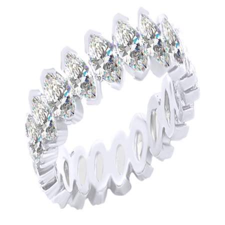 Marquise Shape White Cubic Zirconia Eternity Band Ring In 925 Sterling Silver (4.55 cttw) Ring (Marquise Shape Filigree)