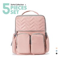 SoHo Collections, Stylish Diaper Bag Tote Backpack, Unisex, 5 Piece Set with Stroller Straps, NY Chevron (Pink)