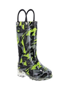 Western Chief Boys' Scatter Camo Light Up Rain Boot